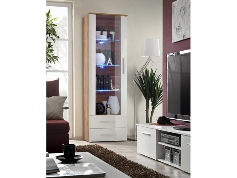 Vitrine neo i design, coloris prunier et blanc brillant, tiroirs blancs brillants + led.