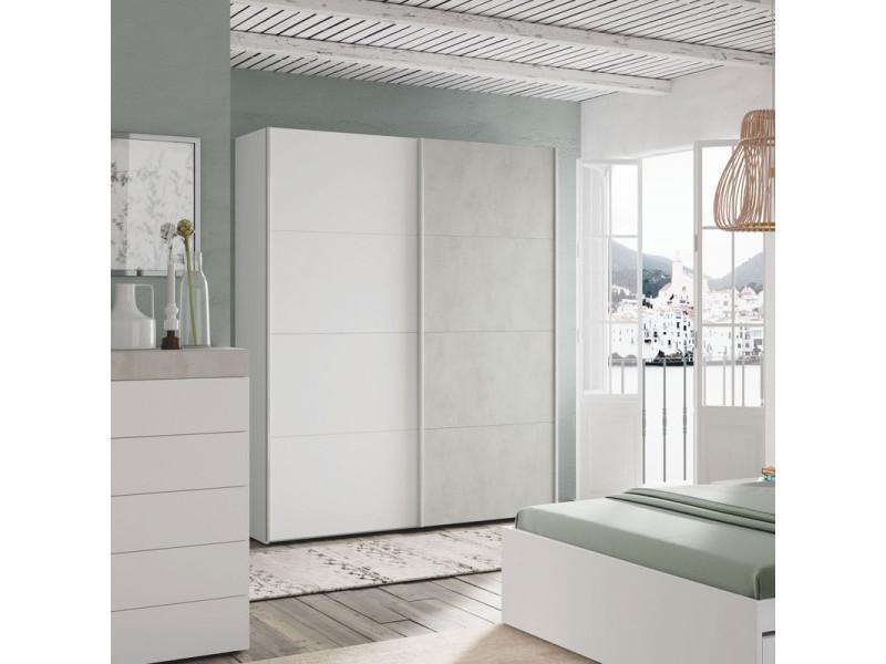 Armoire 2 portes coulissantes blanc/béton ciré clair - spartan - l 150 x l 60 x h 200 cm