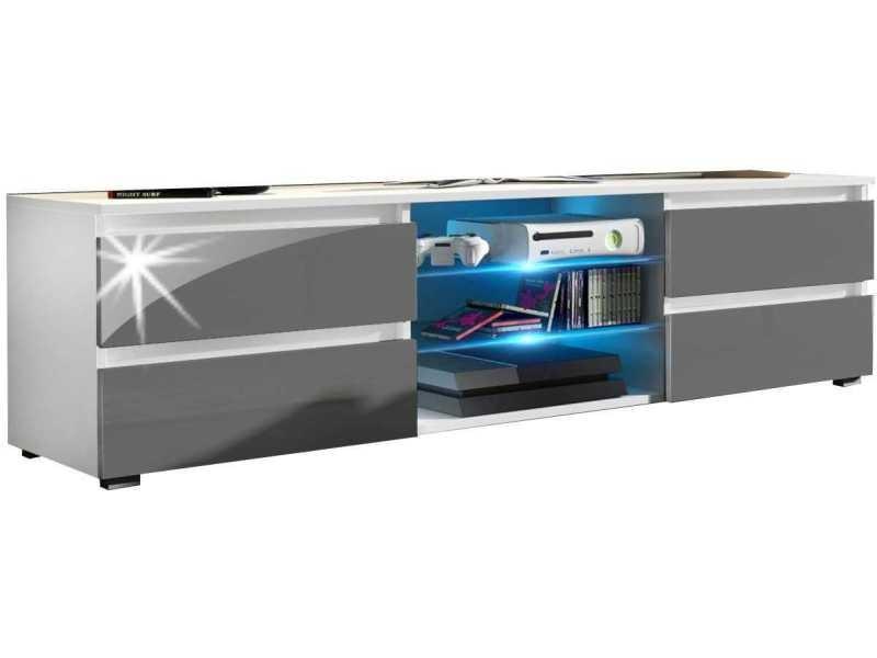 Meuble tv 150 cm blanc mat/gris laqué + led rgb