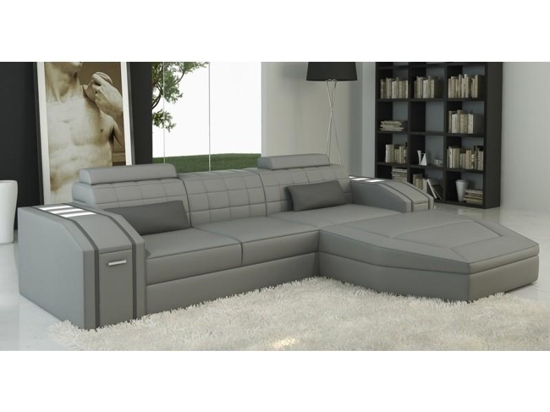 Canapé d'angle cuir design gris jupiter-