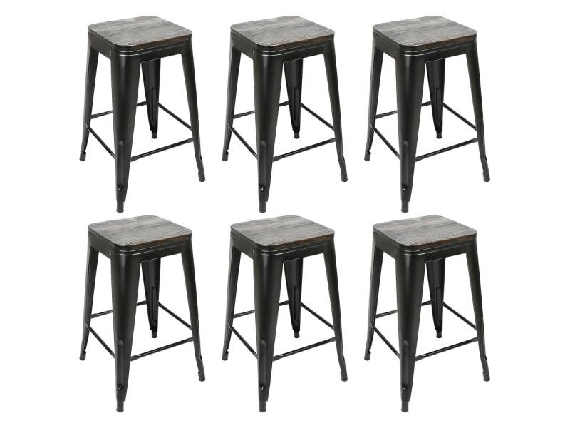 6x tabouret de bar industriel hombuy avec siège en bois, chaise de comptoir, métal, design industriel, empilable