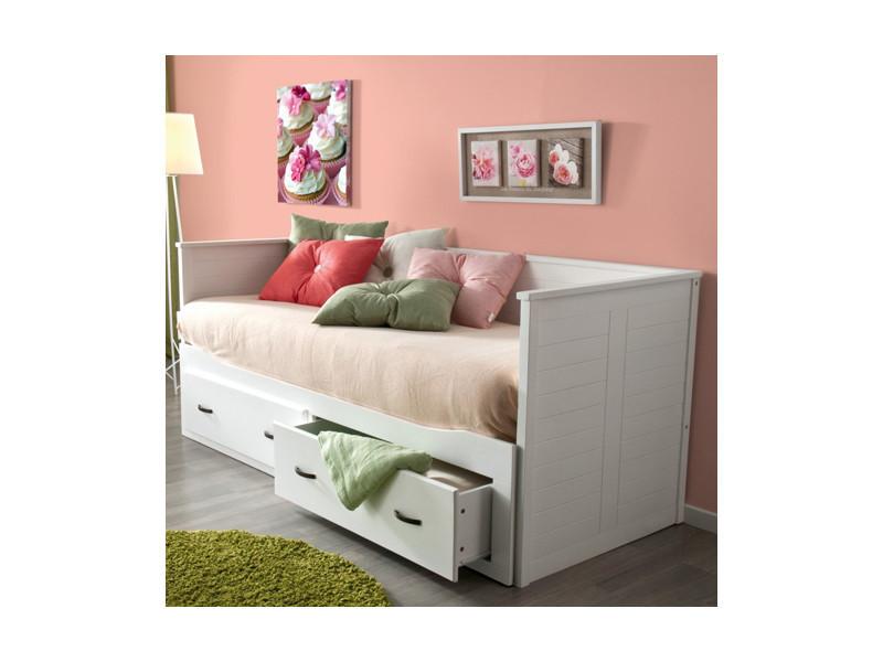banquette lit extensible guest 80 x 200 2 tiroirs blanc 22739z vente de lit adulte conforama. Black Bedroom Furniture Sets. Home Design Ideas