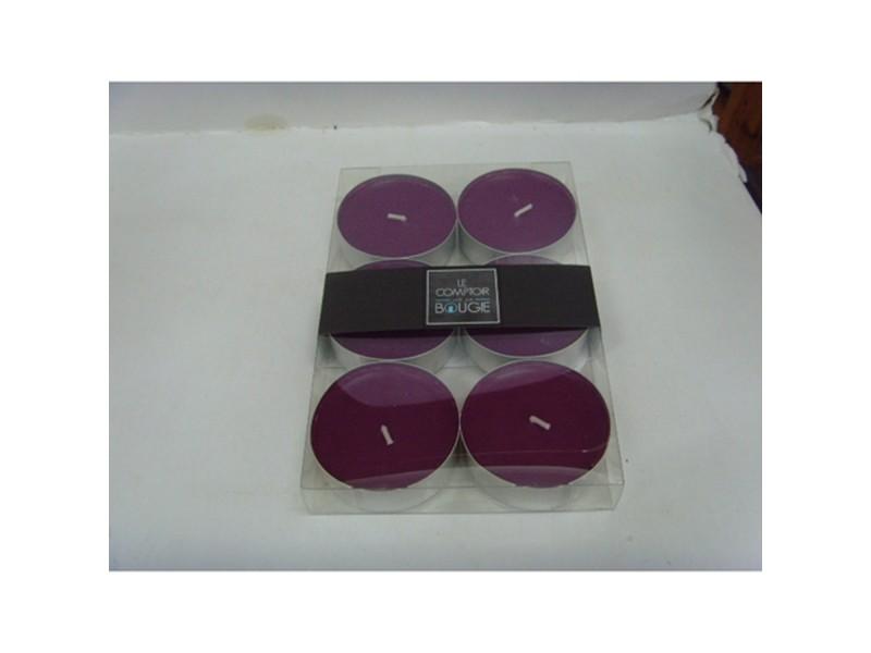 Lot de 6 bougies colorées - diam. 5,9 cm - prune