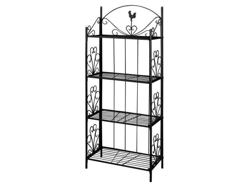 etag re 4 niveaux acier noir int rieur ou ext rieur pour plantes fleurs helloshop26 2702001. Black Bedroom Furniture Sets. Home Design Ideas