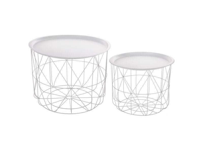 2 tables gigognes filaires mood - diam. 43/53 cm - blanc