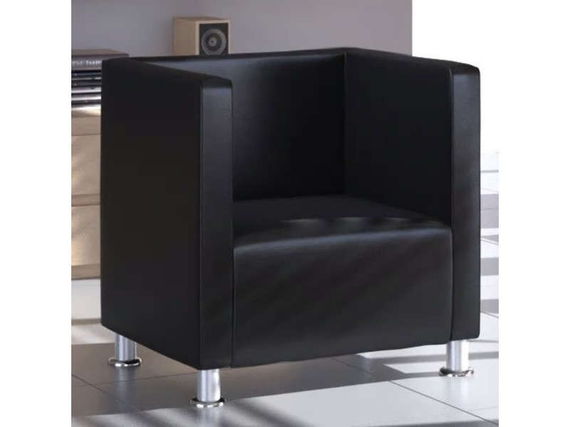 Distingué fauteuils ensemble oulan-bator fauteuil design de cube cuir synthétique noir