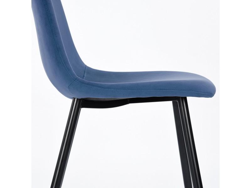 Vente chaises Lot bois scandinave 2 bleu de look métal de WEHY2ID9