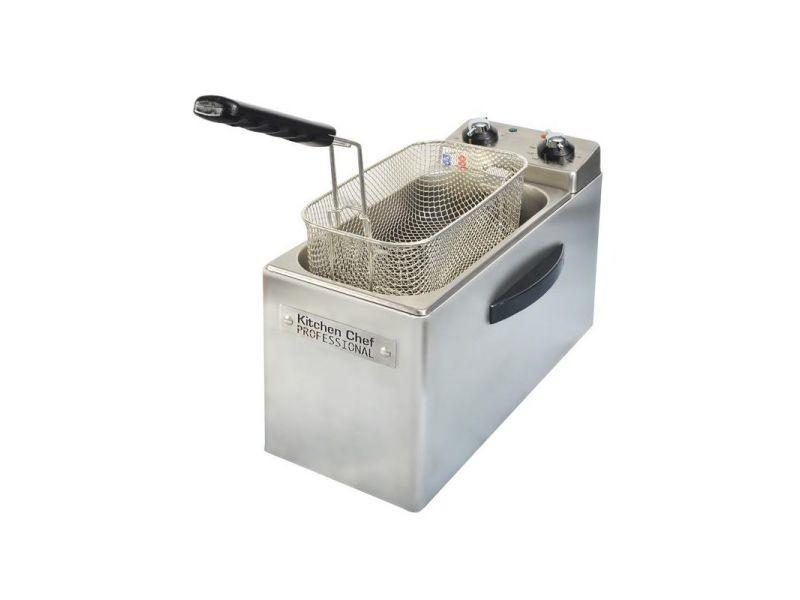 Friteuse professionnelle 2500w inox 1,2kg/4l minuterie 30lin th 190c° zone froide démontable filtrage automatique