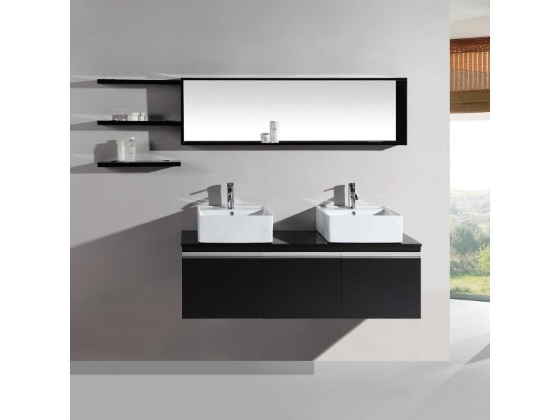 Neree wenge: ensemble salle de bain meuble +2 vasques + 2 miroirs ...