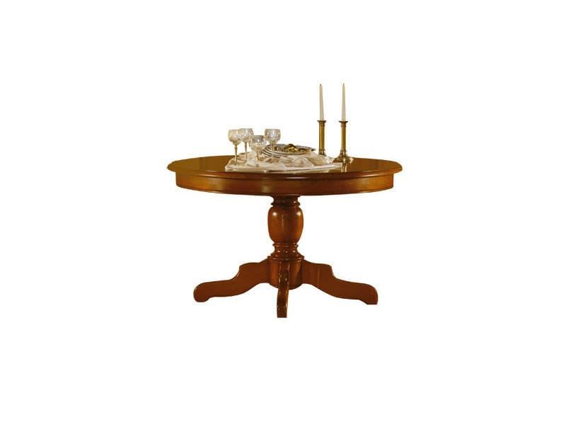 Table ronde pied central extensible en chêne massif - Vente de Table ...