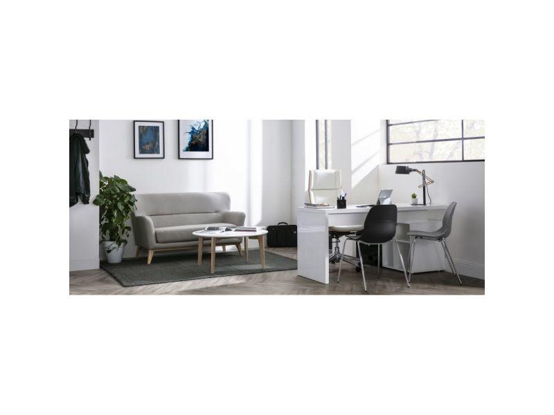 Bureau design blanc et noir laqué rangements à gauche maxi vente