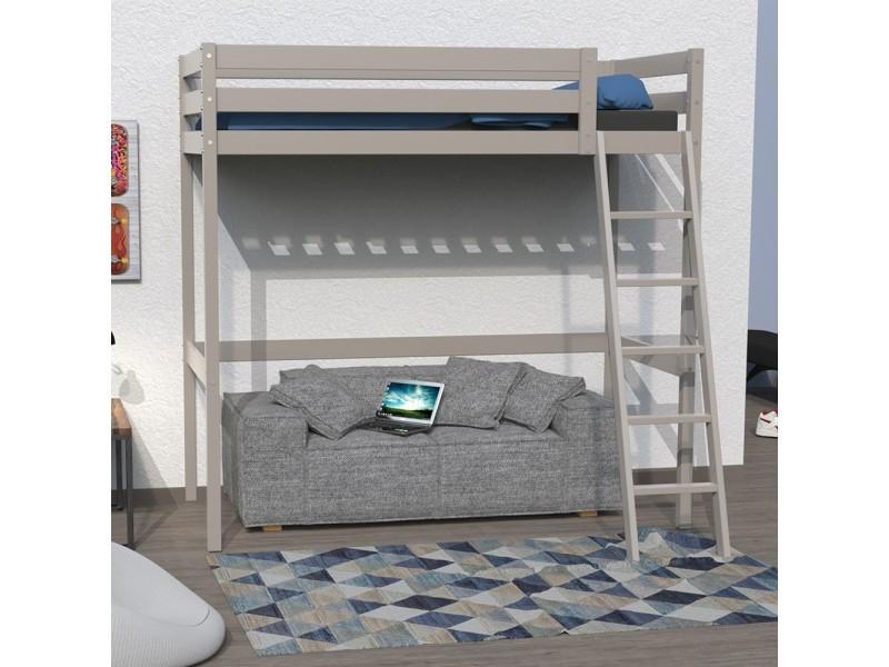 lit mezzanine studio 140x190 1 sommier gris vente de. Black Bedroom Furniture Sets. Home Design Ideas