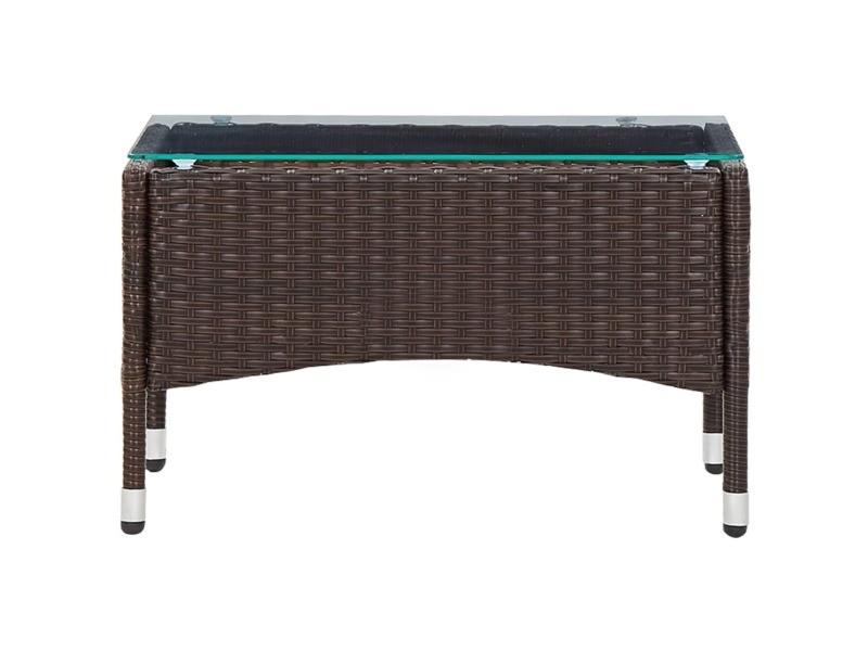 Icaverne - tables de jardin ensemble table basse marron 60x40x36 cm résine tressée
