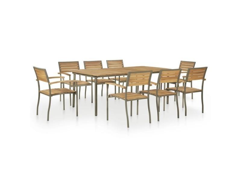 Vidaxl mobilier de jardin 9 pcs bois d\'acacia massif et ...