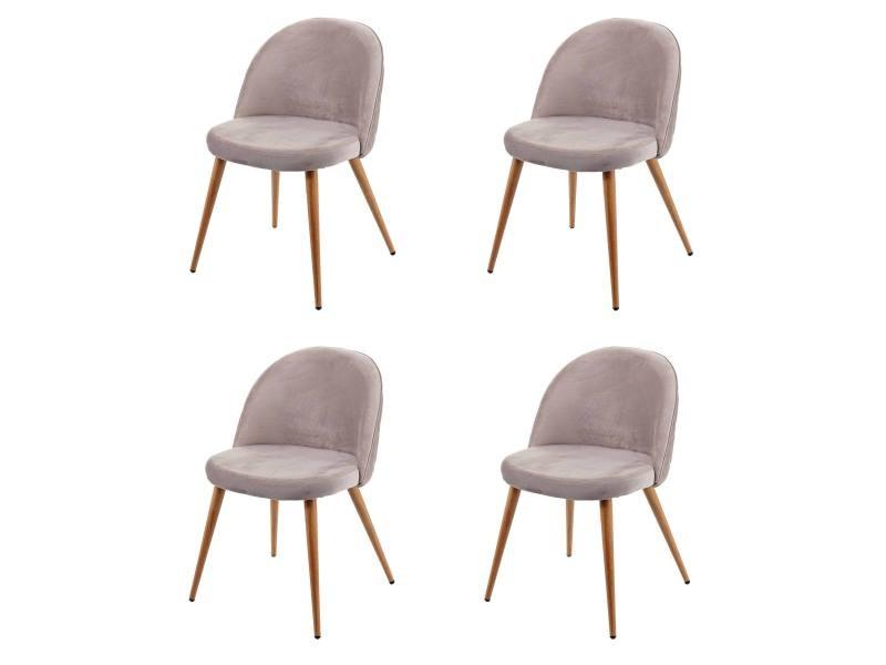 4x chaise de salle à manger hwc-d53, fauteuil, style rétro années 50, en velours ~ gris brun