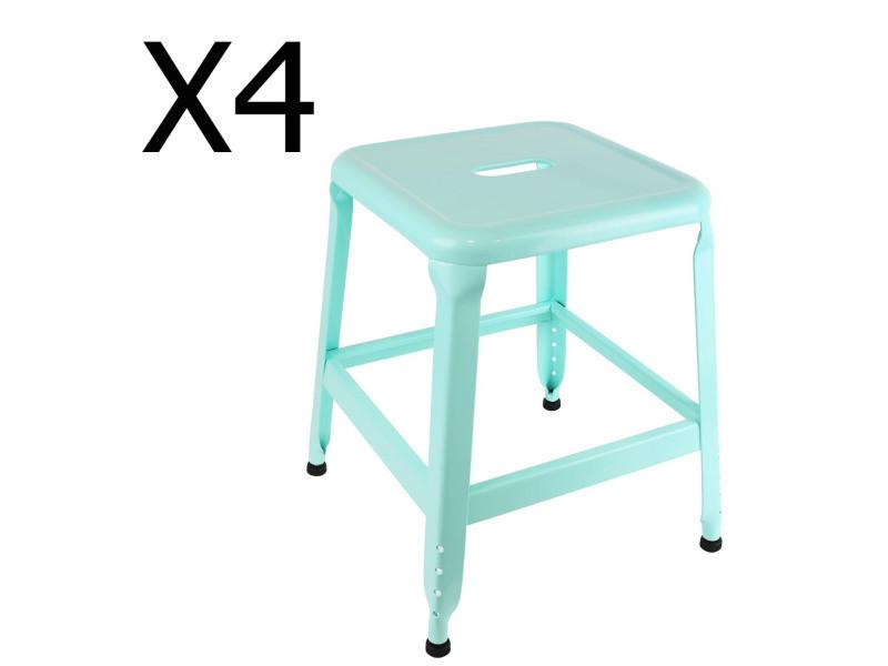 Lot de 4 tabourets en métal coloris bleu turquoise - dim : h 42.5 x l 37 x p 37 cm - pegane -