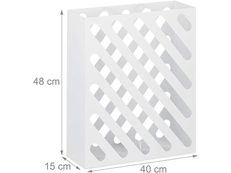 Grand porte-parapluie rectangulaire design acier blanc helloshop26 13_0002211