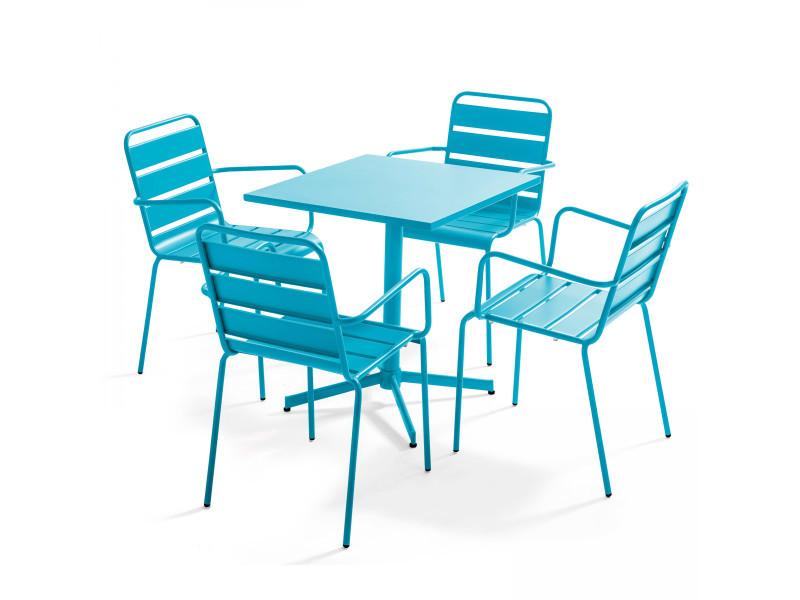 Table de jardin bistrot carrée rabattable et 4 fauteuils en métal palavas 4 places acier bleu
