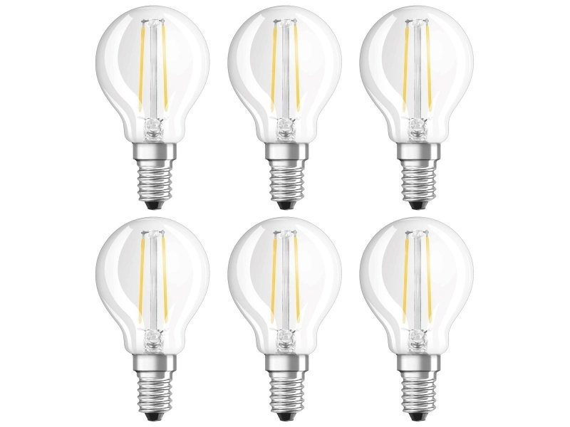 Osram ampoule led filament, forme sphérique, culot e14, 1,1w equivalent 15w, 220-240v, claire, blanc chaud 2700k, lot de 6 pièces