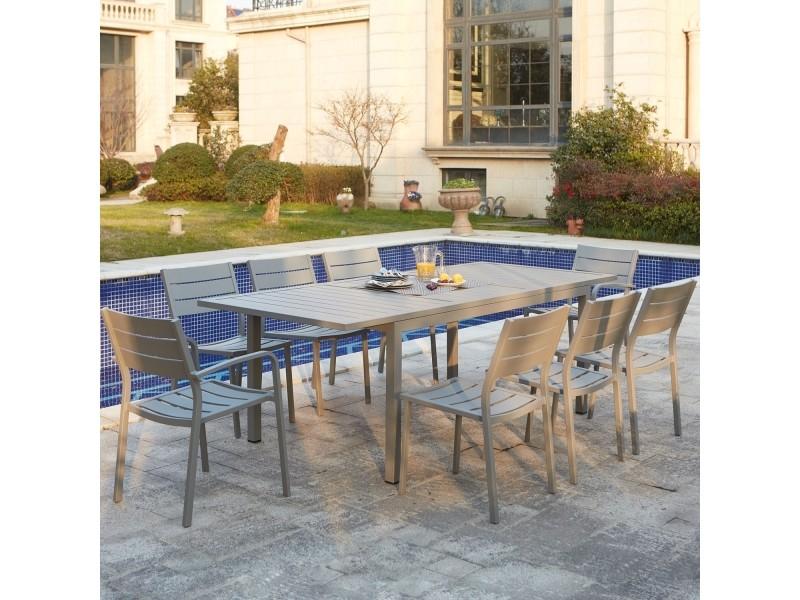Le daphné : salon de jardin extensible en aluminium 8 places ...