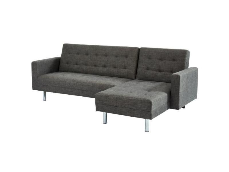 Canape - sofa - divan carl canapé d'angle droit convertible 4 places - tissu gris chiné - pieds métal chromés - contemporain - l 250 x p 144 cm