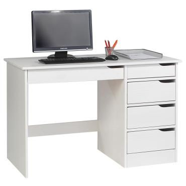 bureau hugo avec rangement 5 tiroirs style scandinave en pin massif lasur blanc vente de. Black Bedroom Furniture Sets. Home Design Ideas