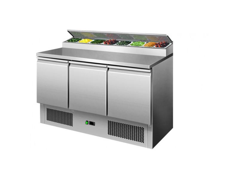 Saladette réfrigérée - 3 portes couvercle inox - l2g - r600a 3 portes