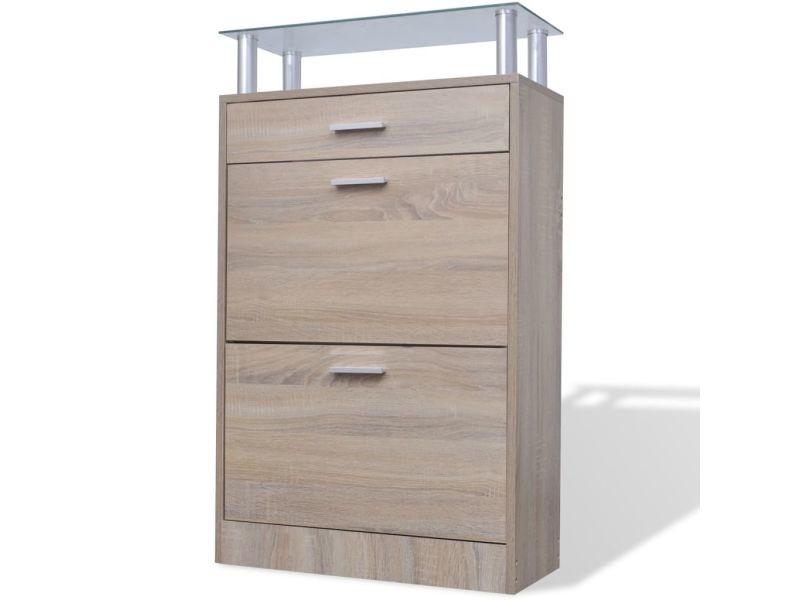 Icaverne - etagères et casiers à chaussures edition meuble à chaussures avec tiroir et plateau en verre bois aspect chêne