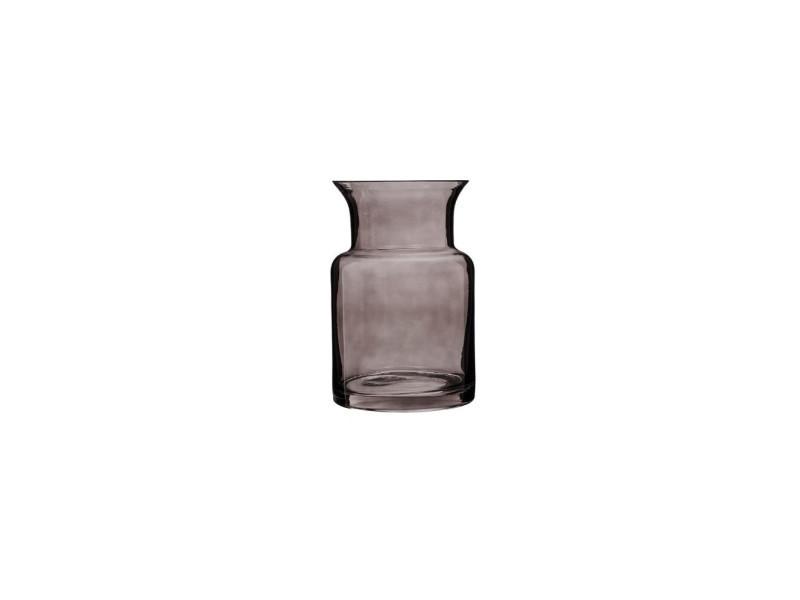 Vase évasé - 14 x 21 cm - verre - gris