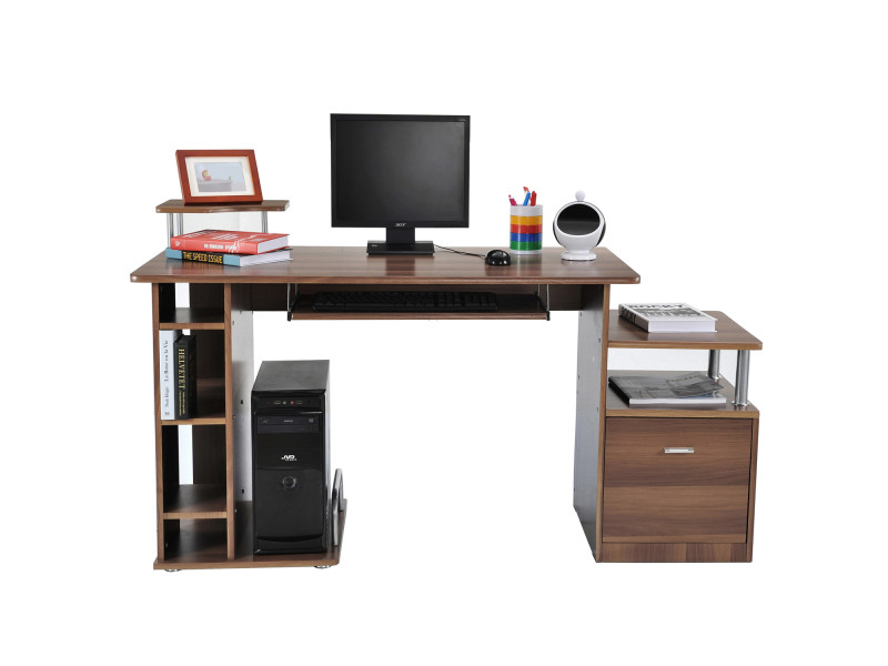 bureau pour ordinateur table meuble pc informatique multimedia en mdf noyer 82 vente de homcom. Black Bedroom Furniture Sets. Home Design Ideas