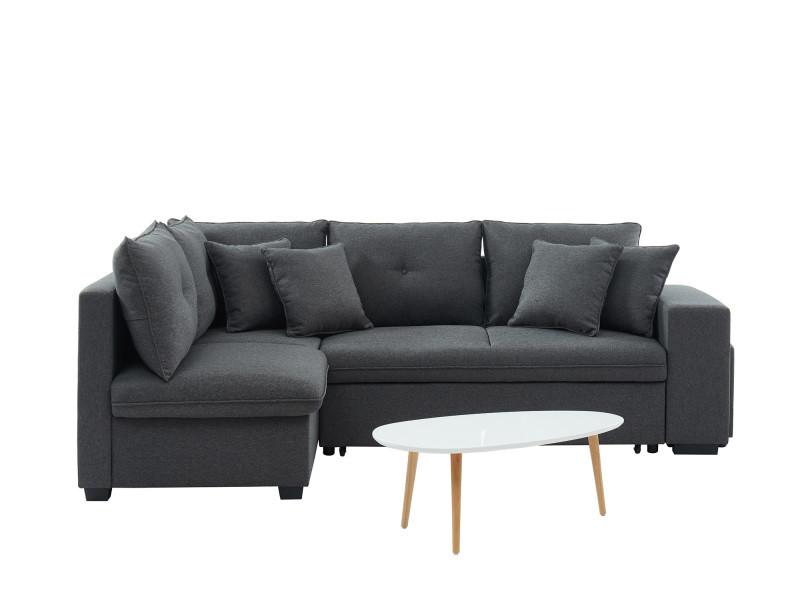 Canapé d'angle gauche convertible 4 places tissu anthracite et gris clair. Pouf + table basse. Gamme koselig. CNBKOSGTX01_626