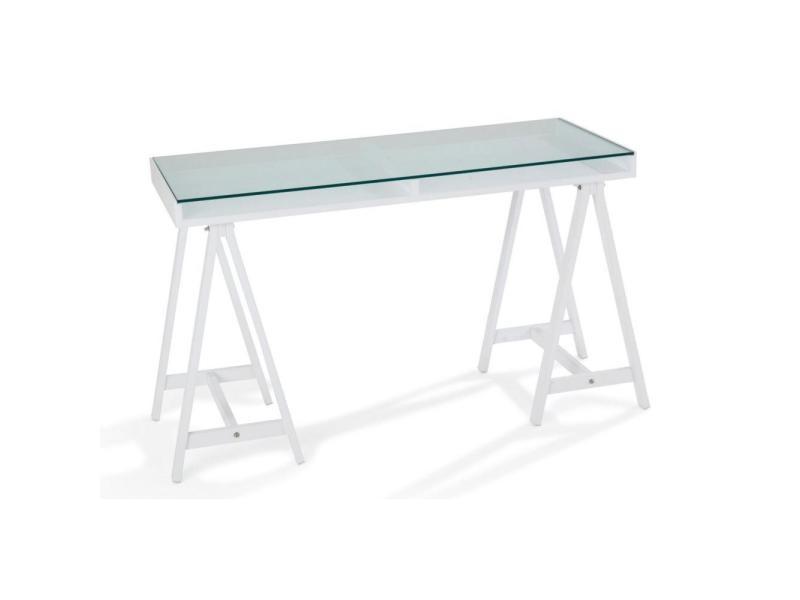 Bureau blanc plateau verre plateau en verre pour bureau fresh