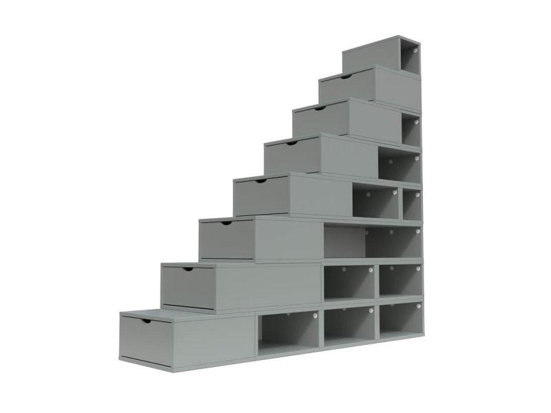 Escalier cube de rangement hauteur 200 cm gris ESC200-G