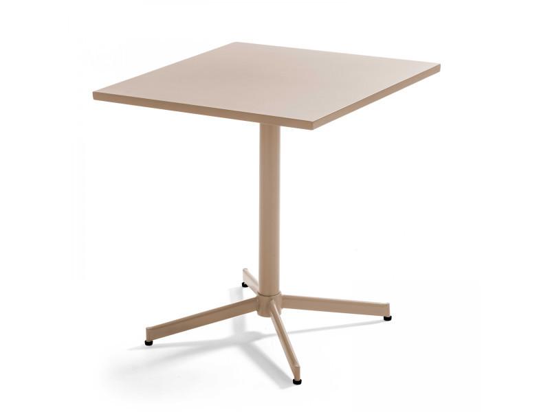 Table de jardin plateau carré rabattable en métal palavas 4 places acier taupe