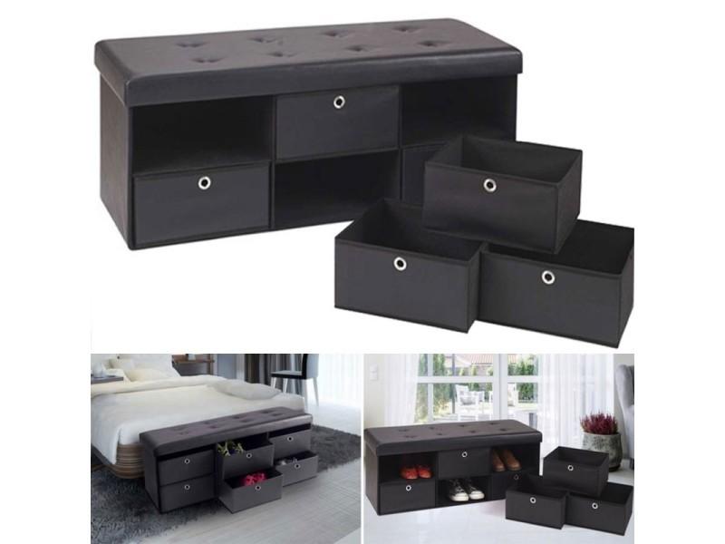 banc coffre rangement noir 6 tiroirs 100x38x38 cm pvc vente de id market conforama. Black Bedroom Furniture Sets. Home Design Ideas
