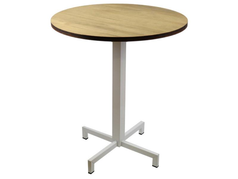 Table bistrot icub. De pied central plateau rond 60dia - industriel vintage – 60x60x75h. Cm - metal blanc PC-002-70BL + TAB-PC 606022 EV