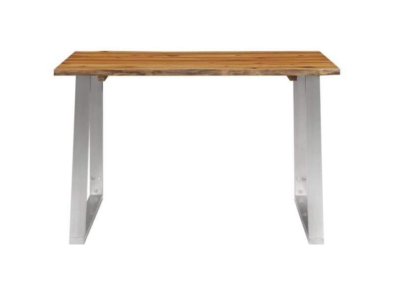Vidaxl table à dîner 120x65x75 cm bois d'acacia et acier inoxydable 283893