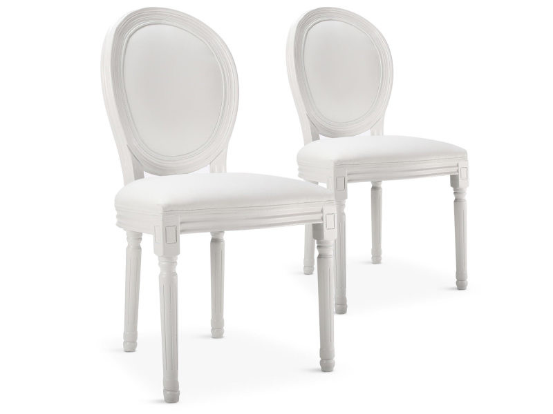 lot de 20 chaises m daillon louis xvi simili p u blanc vente de menzzo conforama. Black Bedroom Furniture Sets. Home Design Ideas