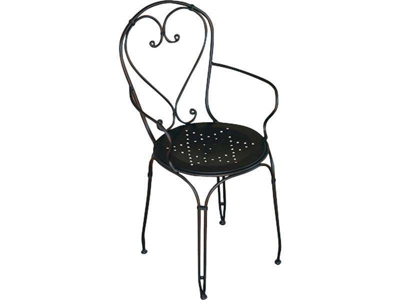 Chaise de jardin en fer forgé noir - dim : h 89 x 57 x p 54 cm- a usage professionnel -pegane-