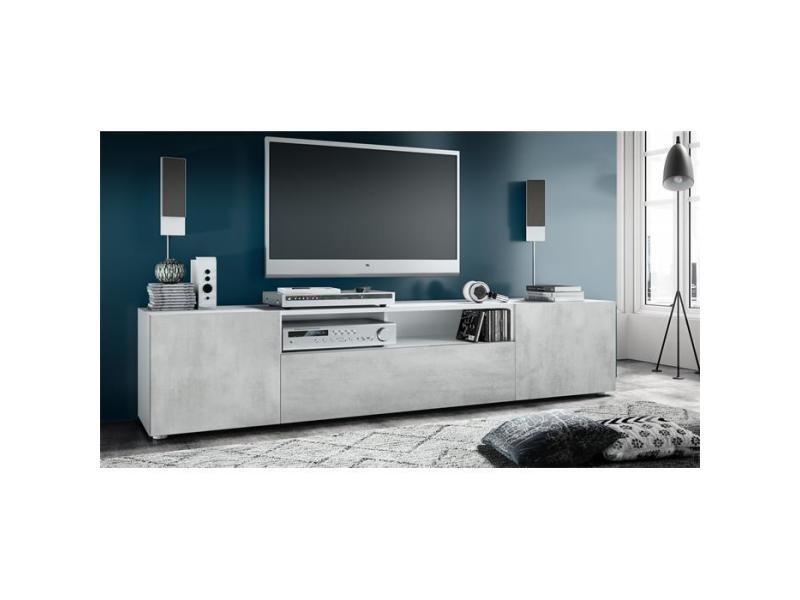Meuble tv blanc mat / aspect béton mat