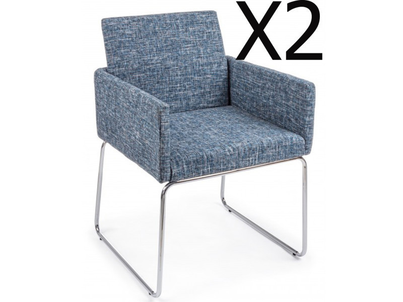 Lot de 2 fauteuils en fer et contreplaqué coloris bleu clair - dim : l 60 x p 54 x h 80,5 cm -pegane-