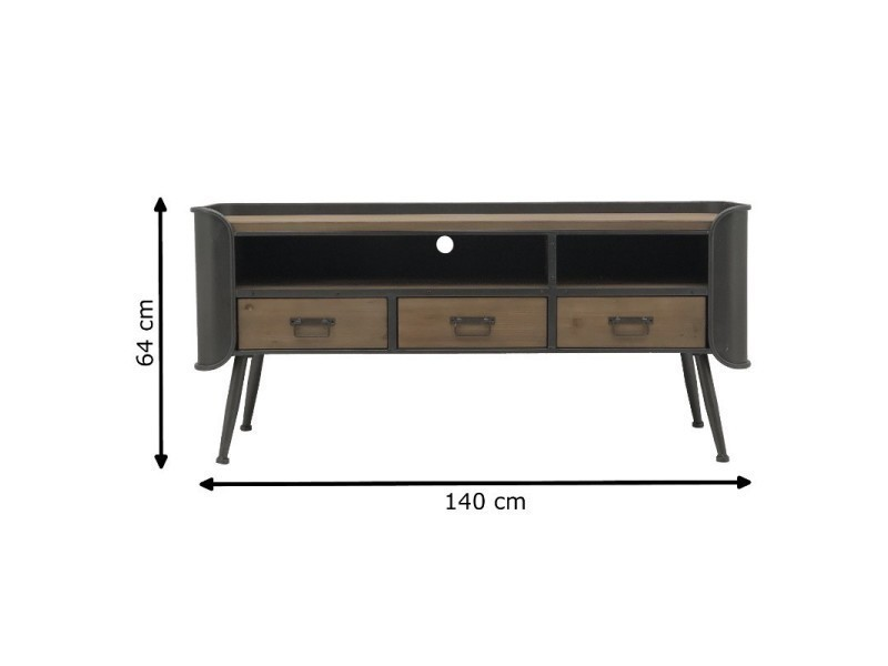 Meuble télé tv console à tiroirs industriel fer bois 140 cm x 64 cm 14140-Meuble