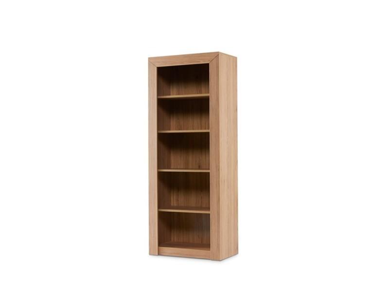 Kaldo Bibliotheque Style Moderne Salon Chambre Entree 75x188x42 Cm 4 Etageres Meuble De Rangement Livres Deco Chene Vente De Hucoco Conforama