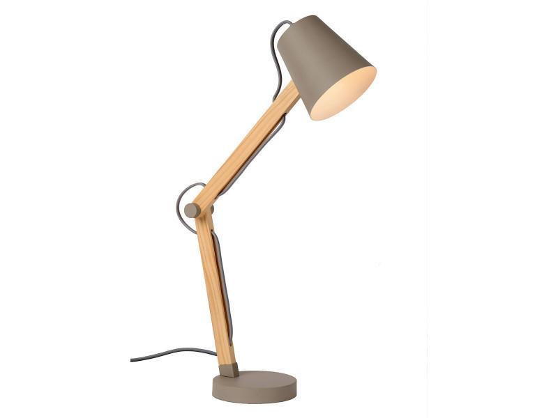 Lampe De Bureau Design Articulee Tony Taupe En Metal Et Bois Vente
