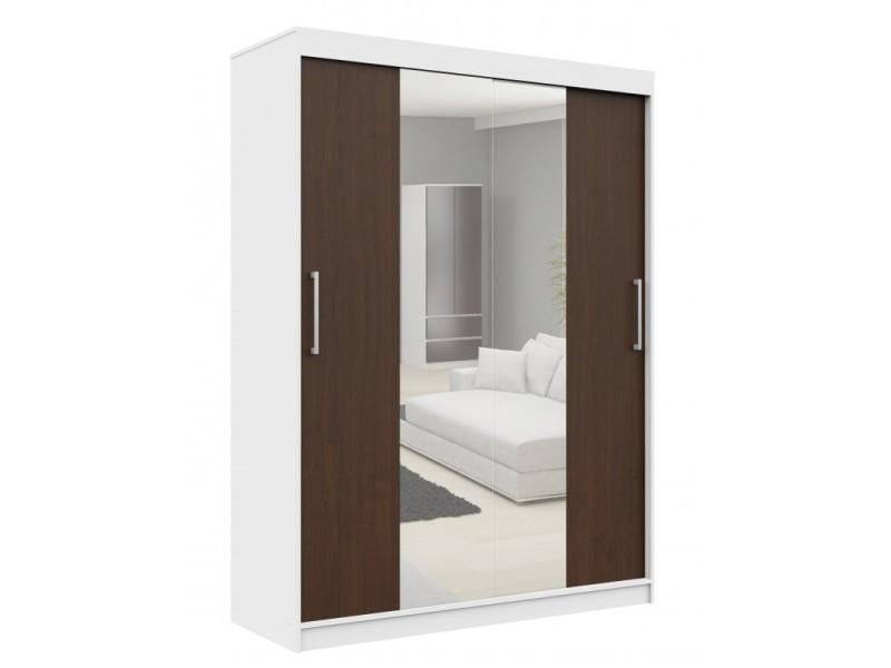 Helia - armoire à portes coulissantes + grand miroir chambre couloir salon - 200x150x60cm - armoire penderie moderne - blanc/wenge