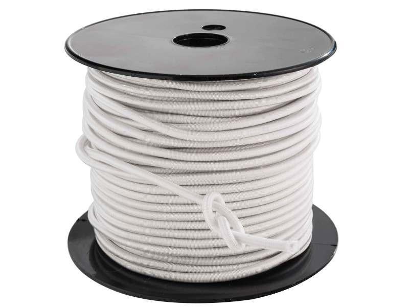 Bâches et protections tendeur de couleur blanc de diamètre 4mm. En rouleau de 50m. Élastique multi-b