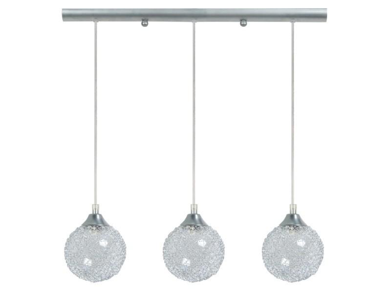 Tosel-actuelle - lustre acier alluminium 3xe27 - abat-jour globe verre transparent - 70 x 18 cm; aluminium