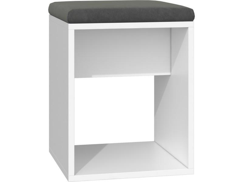 Matias - tabouret moderne avec coussin - design minimaliste - dimensions : 51x35x35 - léger, forme simple - assise confortable - blanc