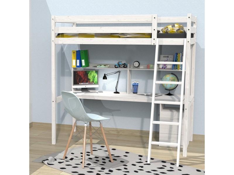 lit mezzanine studio 140x190 1 sommier caisson 3. Black Bedroom Furniture Sets. Home Design Ideas