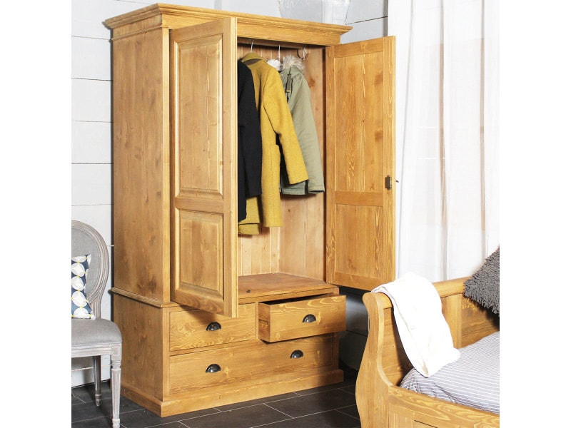 armoire bois massif 2 portes 1 penderie 3 tiroirs n127. Black Bedroom Furniture Sets. Home Design Ideas